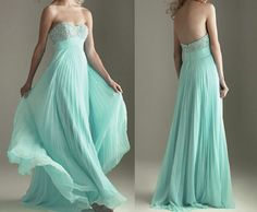 strapless sweetheart empire waist beaded bust mint long chiffon evening dress
