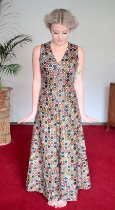 Vintage 1970s Maxi Dress Satinized Cotton Ornate at TinCupVintage, £29.95