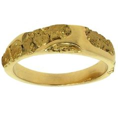 Custom Alaskan Gold Nugget Wedding Band - I love these Alaskan Gold Nugget Wedding Bands - www.goldrushfinejewelry.com