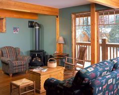 Wood stove in corner furniture placement Corner Wood Stove, Corner Furniture, Furniture Placement, Stoves, Living Room, Home, Design, Skillets, Ad Home