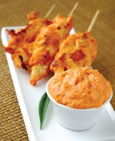 Seared chicken with a red pepper hummus ~ SPANISH TAPAS RECIPES