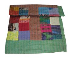 Item - Kantha Quilt Blanket Is Made Of High Quality Construction. Silk Blanket, Picnic Blanket, Outdoor Blanket, Silk Bedding, Queen Beds, Bedspread, Bed Covers, Art Deco Fashion, Mandala