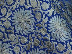 Banarasi Fabric Banaras Silk Wedding Dress Fabric Indian fabric Navy Blue Brocade Fabric by the yard Sewing Crafting Costume fabric