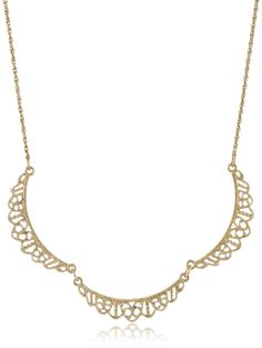 Downton Abbey Gold-Tone Petite Belle Epoch Filigree Scallop Collar Pendant Necklace, 16' -- Check out @ http://www.amazon.com/gp/product/B00EO2WYMC/?tag=finejewelry4u.com-20&pop=060716054148