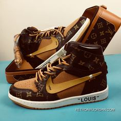 12e5e016e0960c Jordan 1 X OFF-LOUIS Air 1 OW X LV Limited Collaboration Customized Box  AQ0818-158 Latest