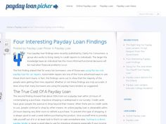 Four payday loan findings were recently published by Clarity For Consumers, a group who works to bring clarity to credit reports to individuals. The larger the knowledge base an individual has the more informed functional decisions will be mad when financial problems occur.