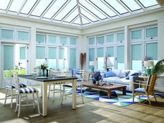 Cobalt blue perfect fit blinds look fantastic in this conservatory. Give yourself the privacy and heat/light control needed. Blinds For You, Blinds For Windows, Blue Roller Blinds, Perfect Fit Blinds, How To Make A Roman Blind, Fitted Blinds, Best Blinds, Blue Home Decor, Roman Blinds