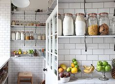Subway Tiled Pantry | 25 Bright Ideas for Incorporating Open Shelves into Your Space