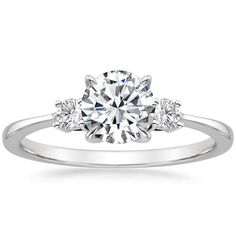 18K White Gold Selene Diamond Ring from Brilliant Earth- 1.1 ct middle stone. My dream ring....