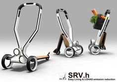 Basically this commuter scooter can transform to a helpful shopping cart via some simple folding steps. Details that include a cradle for storing your phone makes this such an awesome thang. Elegant and functional, this is my scooty of the future!