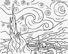Starry Night By Vincent Van Gogh Coloring page-here is a site with tens of thousands of coloring pages, including famous […] Make your world more colorful with free printable coloring pages from italks. Our free coloring pages for adults and kids. Vincent Van Gogh, Van Gogh For Kids, Art For Kids, Art Children, Coloring Book Pages, Printable Coloring Pages, Coloring Sheets, Van Gogh Zeichnungen, Desenhos Van Gogh