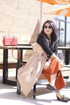 Michigan petite fashion style blogger blog street style spring outfit tips One black lace-up bodysuit three styles  WHBM trench vest + lookbook store black lace up bodysuit +Vince Camuto wide cropped pants+ nine west leopard flats + Rayban sunglasses + LV red bag