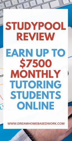 StudyPool Review: Earn Up to $7,500 Monthly Tutoring Students Online Work From Home Jobs, Work From Home Options, Home Based Work, Work From Home Companies, Legitimate Work From Home, Online Tutoring, How To Make Money, Make Money Online, Need Cash Now