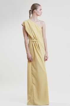 Two in a gondola SS14 collection, Cupro Yellow one shoulder maxi dress gathered on the waist