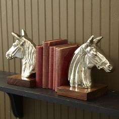 Steeplechase Set of 2 Horse Bookends Decorative Objects, Decorative Accessories, Home Accessories, Equestrian Decor, Equestrian Style, Horse Show Mom, Living Room Bookcase, Horse Pattern, Two's Company