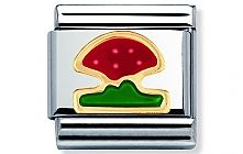 Nomination stainless steel and 18ct gold Mushroom Classic Charm with Enamel