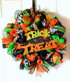 "Festive ""Trick or Treat"" Halloween Mesh Wreath by AnySeasonAnyReason on Etsy at www.etsy.com/shop/AnySeasonAnyReason"