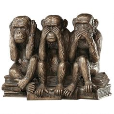 Design Toscano Inc in. The Hear-No See-No Speak-No Evil Monkeys Statue - About Design Toscano Design Toscano is the country's premier source for statues and other historical and antique replicas, which are available. Monkey Statue, Three Wise Monkeys, Traditional Sculptures, Year Of The Monkey, See No Evil, Pet Monkey, Monkey Art, Animal Statues, Garden Statues