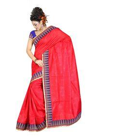 Red Jute Jacquard Saree With Blouse 60061