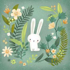Easter Illustration, Garden Illustration, Bunny Art, Cute Bunny, Easter Calendar, Collage, Artwork Images, Graphic, Cat Art