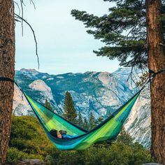 St. Lucia Double Hammock hanging between trees in mountains