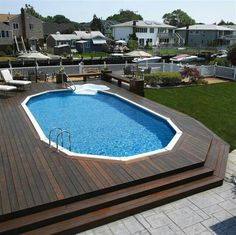 Above Ground pool with wrap around deck.