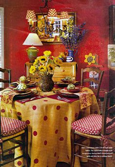 Dotted burlap table cloth.  I just love this room.