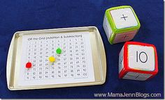 DIY Addition and Subtraction Game (called Off the Grid)