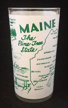 Vtg Swanky Swig Glass Tumbler Maine Pine Tree State Green White 1950's Souvenir   eBay