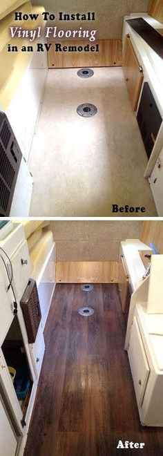 RV Remodel, Before and after photo how-to for installing a vinyl floor in your travel trailer camper makeover. #camperremodelbeforeandafter #campermakeover #rvremodelbeforeandafter #remodelingbeforeandafter