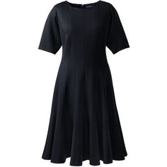 Lands' End Women's Plus Size Elbow Sleeve Godet Dress (5,425 PHP) ❤ liked on Polyvore featuring plus size women's fashion, plus size clothing, plus size dresses, black, elbow length dresses, lands' end, lands end dresses, slimming dresses and elbow sleeve dress
