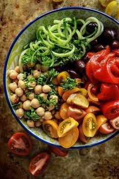 Vegan Greek Salad Cucumber Noodle Bowl from HeatherChristo.com #glutenfree #vegan