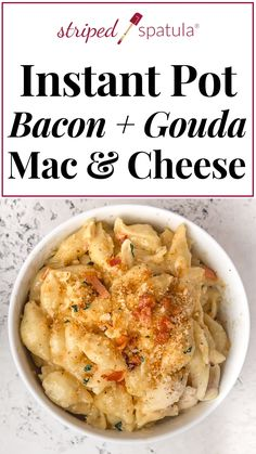 Instant Pot Smoked Gouda & Bacon Macaroni and Cheese Decadent, creamy Smoked Gouda and Bacon Mac and Cheese is a cinch to make in the Instant Pot! This recipe is an easy comfort food dinner for a winter night and great for game day!