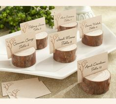 Rustic Real-Wood Place Card/Photo Holder (Set of 4) Wedding Favors