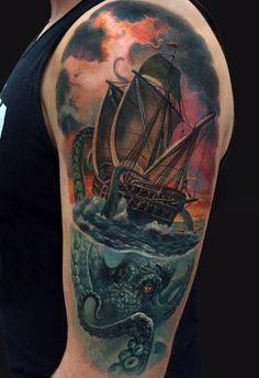 Octopus Ship Tattoo