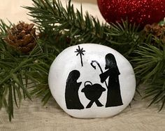 Black and White Nativity Painted Rock