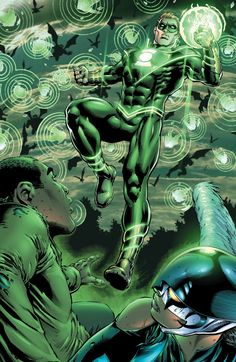Green Lantern Alan Scott and Hawkgirl with Val Zod Earth 2