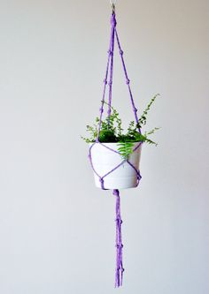 Lavender purple Indoor/outdoor macrame plant hanger by TheVintageLoop, $15.50