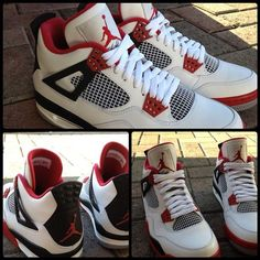 """Jordan IV """"Fire Red"""" releasing 8/4/12. Debating whether or not to drop the $160 for these, always wanted a pair of IV's ever since I was a kid."""