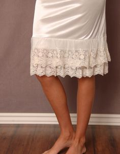 Lace Slip Extender Cream...I want to sew one of these only make it longer :)