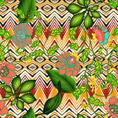 Ethnic Nature Modern by Ilha da estampa Seamless Repeat Royalty-Free Stock Pattern Modern Floral Design, Print Patterns, Pattern Designs, Free Stock, Repeating Patterns, Textile Design, Online Printing, Ethnic, Royalty