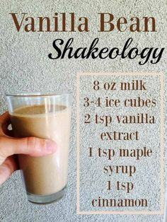This tastes like a Starbucks Vanilla Bean Frappuccino. Except it's got half the sugars and artificial sweeteners and triple the superfoods! Shakeology Shakes, Beachbody Shakeology, Vanilla Shakeology, 310 Shake Recipes, Protein Shake Recipes, Protein Shakes, Cafe Latte Recipe, Smoothie Drinks, Smoothie Recipes