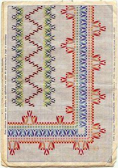 Belos!                                                                                                                                      ... Swedish Embroidery, Diy Embroidery, Cross Stitch Embroidery, Embroidery Patterns, Cross Stitch Borders, Cross Stitching, Cross Stitch Patterns, Broderie Bargello, Swedish Weaving Patterns