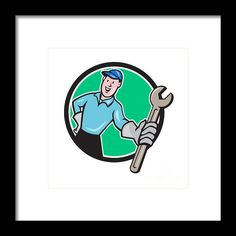 Mechanic Presenting Wrench Circle Cartoon Framed Print By Aloysius Patrimonio
