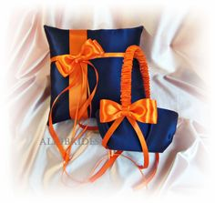 Weddings flower girl basket and ring bearer pillow navy blue and orange wedding party ceremony decor on Etsy, $65.00