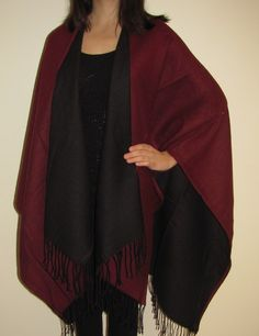 Burgundy & Black Reversible Ruana Cape Wrap perfect for this season on sale. Unique gift for women for any occasion or event.