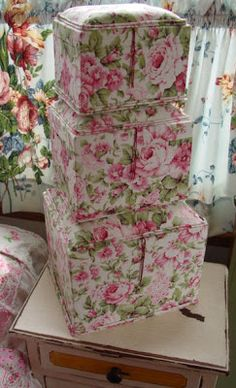 love these rose fabric boxes