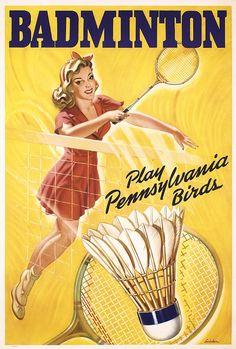 Original 1940s/50s American BADMINTON Poster PA Bi - by PosterConnection Inc.