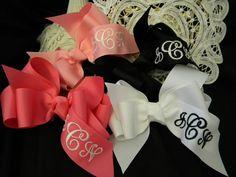 Monogrammed hair bows via Etsy