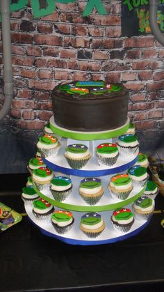 Fun cake and cupcakes at a Teenage Mutant Ninja Turtle Birthday Party!  See more party ideas at CatchMyParty!